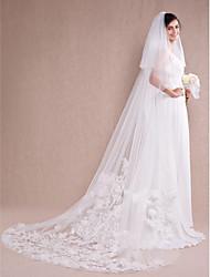 Véus de Noiva Uma Camada Véu Catedral Borda com aplicação de Renda 112,2 cm (285 centímetros) Tule / Renda Branco / Marfim / Bege