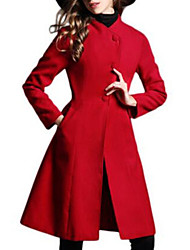 Women's Solid Red / Black Pea Coats,Simple Long Sleeve Nylon
