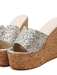 Women's Summer Wedges / Heels Leatherette Outdoor / Casual Wedge Heel Sequin Silver / Gold