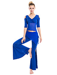 Roupa ( Preto / Azul / Fúcsia / Vermelho / Amarelo , Tule / Fibra de Leite , Dança do Ventre ) - de Dança do Ventre - Mulheres