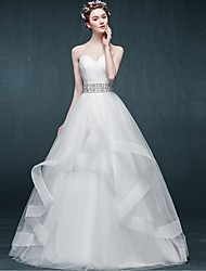 A-line Wedding Dress Floor-length Sweetheart Tulle with Beading