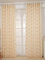 Um Painel Moderno / Europeu / Designer Sólido Amarelo Sala de Estar Poliéster Sheer Curtains Shades
