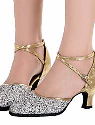 Non Customizable Women's Dance Shoes Latin Satin Chunky Heel Black / Silver / Gold