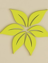 Wooden Diy Wall Sticker Home Decor 3D Sticker For Wall 6Pcs/Set Solid Leaves Fashion Living Room Bedroom