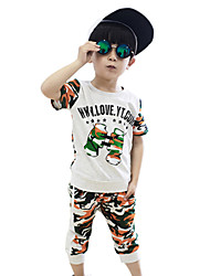 Boy's Cotton Summer Casual Army Camouflage Sport Clothes Set