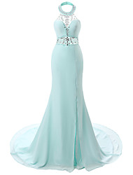 Formal Evening Dress-Sky Blue Trumpet/Mermaid Halter Court Train Chiffon
