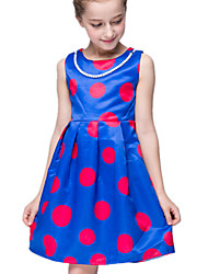 Girl's Dress,Polyester Summer Blue