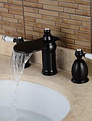 Contemporain Diffusion large Cascade / large spary with  Valve en céramique Deux poignées trois trous for  Bronze huilé , Robinet lavabo