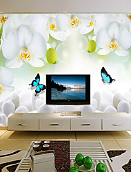 Shinny Leather Effect Large Mural Wallpaper Flowers And Butterfly Art Wall Decor for Living Room TV Soaf Background