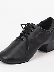 Customizable Men's Dance Shoes Tap Leatherette / Flocking Chunky Heel Black