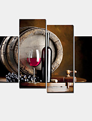 Modern 4 Panels Framed Still Life Grape And Wine Bottle Prints on Canvas Painting Flat Barrel Decor