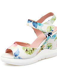 Women's Summer Platform Comfort PU Office & Career Dress Wedge Heel Satin Flower Flower Black Blue Pink