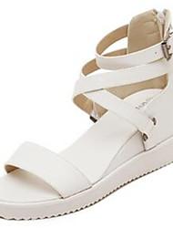 DamenOutddor / Lässig-Denim Jeans-Keilabsatz-Wedges / Vorne offener Schuh-Schwarz / Weiß