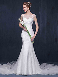 Trumpet / Mermaid Wedding Dress Chapel Train Scoop Lace / Tulle with Appliques / Lace