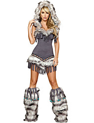 Sexy Cute Tassels Gray Fur Adult Women's Halloween Costumefor Carnival