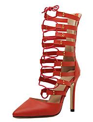 Feminino Botas Botas da Moda Couro Ecológico Verão Casual Botas da Moda Salto Agulha Preto Vermelho 10 a 12 cm