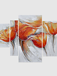 Hand-Painted Abstract / Floral/BotanicalModern Four Panels Canvas Oil Painting For Home Decoration
