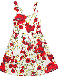 Girls  Dress Red Flower Print Tank Party Pageant Casual Holiday Baby Kids Clothing