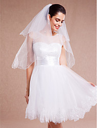 Wedding Veil Two-tier Blusher Veils / Elbow Veils / Fingertip Veils Beaded Edge / Scalloped Edge Tulle White / Ivory