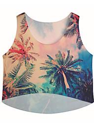 Damen Druck Niedlich / Street Schick Lässig/Alltäglich T-shirt,Rundhalsausschnitt Sommer Kurzarm Beige Nylon / Elasthan Mittel