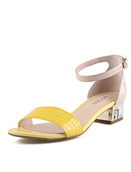 PT'SON Women's Patent Leather Chunky Heel Sandals Yellow