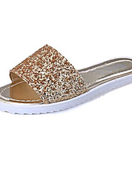 Women's Shoes PU Flat Heel Slippers Sandals / Slippers Outdoor / Dress / Casual Black / White / Silver / Gold