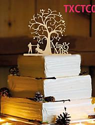 Decoración de Pasteles No personalizado Pareja Clásica Resina Matrimonio Amarillo Tema Lazo 1 OPP