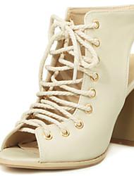 Women's Shoes Chunky Heels/Sling back/Open Toe Sandals Dress Black/Beige
