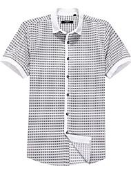 Sieben Brand® Herren Hemdkragen Kurze Ärmel Shirt & Bluse Weiß-704A346280