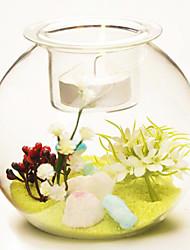 areia pastoral estilo de vidro de cores para decoração de casa 1pc / set (vaso com areia nenhuma flor)