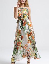 Women's Beach Simple / Boho Chiffon Dress,Print Halter Maxi Sleeveless White Rayon Summer