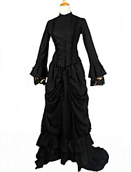 One-Piece/Dress / Maid Suits Classic/Traditional Lolita Victorian Cosplay Lolita Dress Black Solid Long Sleeve Long Length Dress For Women
