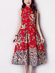 De las mujeres Línea A / Vaina Vestido Vintage Estampado Midi Escote Chino Algodón / Lino