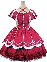 Kurzarm knielangen Red Cotton Klassische Lolita Kleid