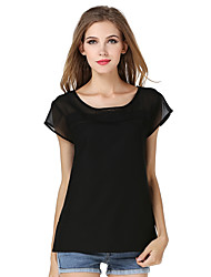 Damen T-Shirt - Gitter Polyester Kurzarm Rundhalsausschnitt