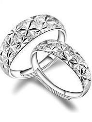 2pcs Sterling Silver Ring Dazzling Couple Rings Adjustable Fashion Jewelry for Couple Wedding Engagement Ring