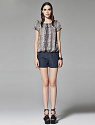 ZigZag® Women's Round Neck Short Sleeve Shirt & Blouse Gray - 11253