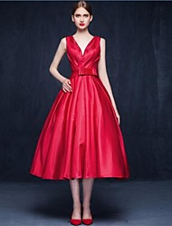 A-Line V-neck Tea Length Matte Satin Cocktail Party Prom Dress with Bow(s) Sash / Ribbon
