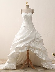 A-line Wedding Dress Court Train Sweetheart Satin with Ruche