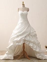 Trapèze Robe de Mariage  Traîne Tribunal Coeur Satin avec Froncée
