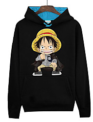 Inspired by One Piece Monkey D. Luffy Anime Cosplay Costumes Cosplay Hoodies Print Long Sleeve Top For Unisex