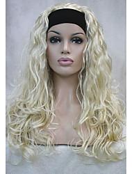 nova meia peruca moda 3/4 perucas com banda de cabelo longo encaracolado peruca sintética escolhas de cor loira (4cores)
