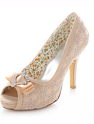 Women's Shoes Stretch Satin Stiletto Heel Heels / Peep Toe / Round Toe Sandals Wedding /  Dress Champagne