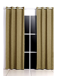Two Panels Solid Faux Linen Lined Curtains