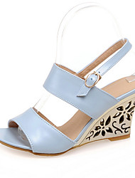 Women's Shoes Wedge Heel Wedges / Open Toe Sandals Wedding / Party & Evening / Dress Blue / Silver / Beige
