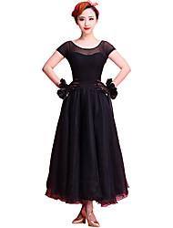 Vestidos(Negro / Morado claro,Chinlon / Organdí / Fibra de Leche,Baile de Salón) -Baile de Salón- paraMujer