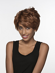 Towheaded Short Wavy Inclined Bang Remy Human Hair Hand Tied Top Wig for Woman's