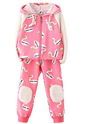 Two Pcs Cartoon Letter Jacket Girls Pants Suit