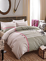 Stripe Duvet Cover Sets 4 Piece Cotton Contemporary Reactive Print Cotton Twin Queen King 1pc Duvet Cover 2pcs Shams 1pc Flat Sheet