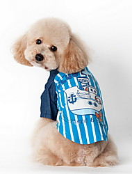 Dog Shirt / T-Shirt Blue / Pink Summer Stripe Striped, Dog Clothes / Dog Clothing-Lovoyager